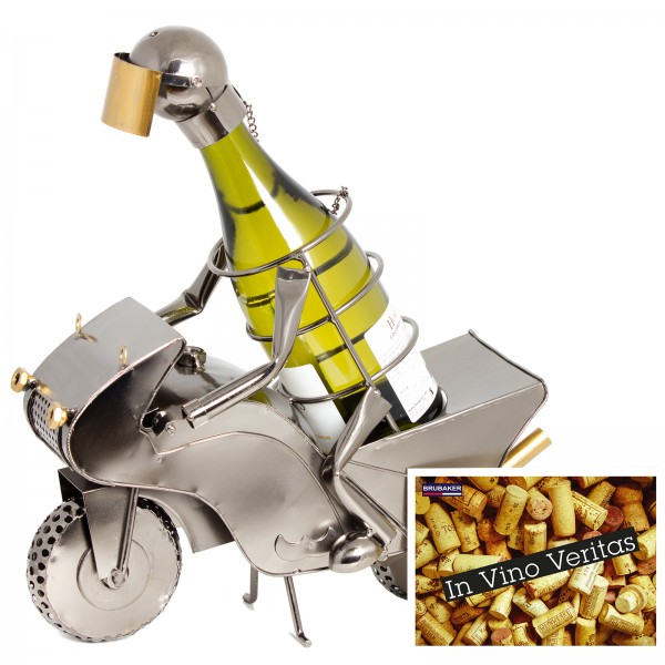 BRUBAKER Flaschenhalter Motorradfahrer Racer Metall Skulptur mit Geschenkkarte