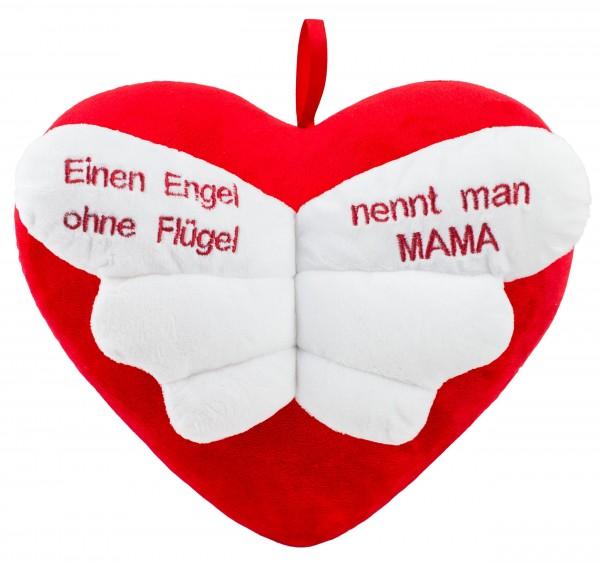 Brubaker Plüschkissen in Herzform - Einen Engel ohne Flügel nennt Man Mama – Rot 32 cm - Herzkissen