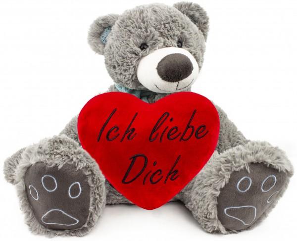BRUBAKER Kuschelbär Teddybär 50 cm groß Grau mit einem Ich Liebe Dich Herz