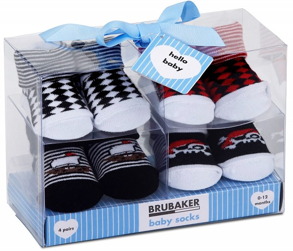 """4 Paar Babysocken """"Piraten Design"""" in Geschenkverpackung, 0-12 Monate"""