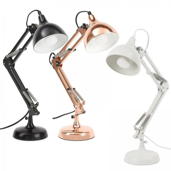 Schreibtischlampe, Leselampe aus Metall - mit höhenverstellbarem Gelenkarm - bis zu 47 cm hoch