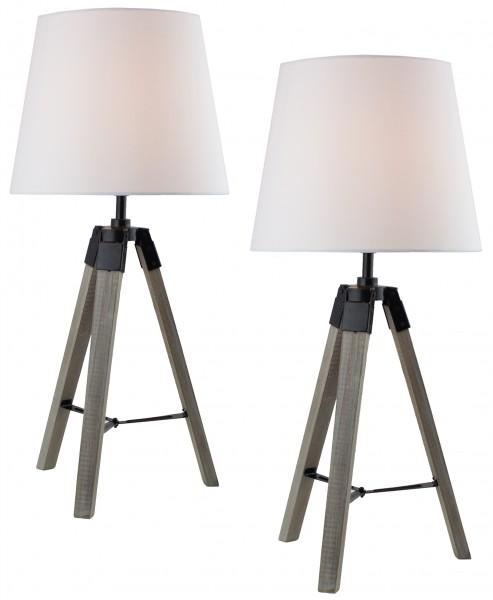 2er Set BRUBAKER Dreibein Tisch- oder Nachttischlampen 57 cm Holz Silbergrau / Weiß