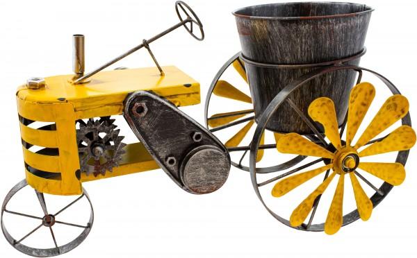 Vintage Traktor aus Metall - Gelb - zum Bepflanzen - Windspiel - handbemalt & wetterfest