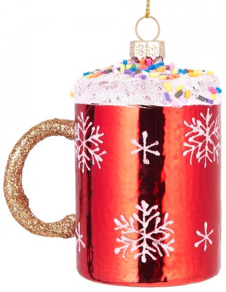 Weihnachtstasse mit Streuseln - Handbemalte Weihnachtskugel aus Glas - Mundgeblasene Baumkugel - 9cm
