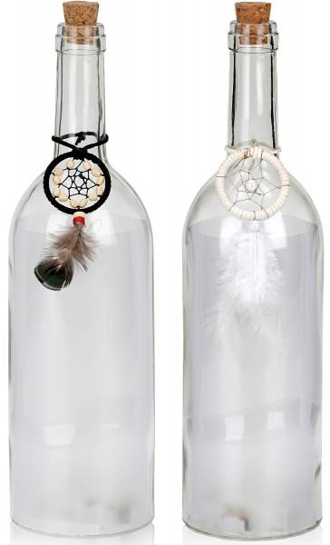 Lichterflasche Traumfänger - 5 LEDs - Dekoflaschen - Flaschenlicht - 32 cm Höhe
