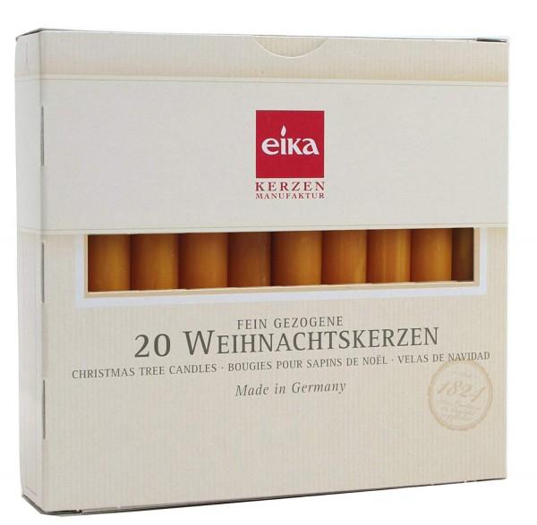 Eika 10243510 Baumkerzen durchgefärbt naturgelb, 20er Pack 10,5cm x 1,25 cm