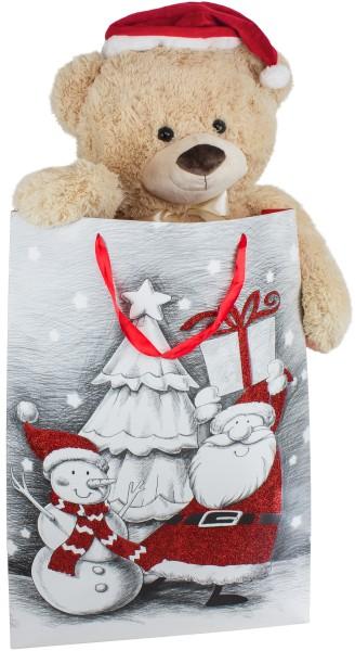 BRUBAKER XXL Teddy mit Nikolausmütze - 100 cm groß in einer Geschenktüte mit Weihnachtsmotiven