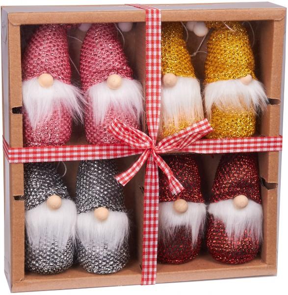 8-teiliges Set Weihnachtszwerge aus Holz und Strick - Baumanhänger - 10,5 cm in Geschenkbox
