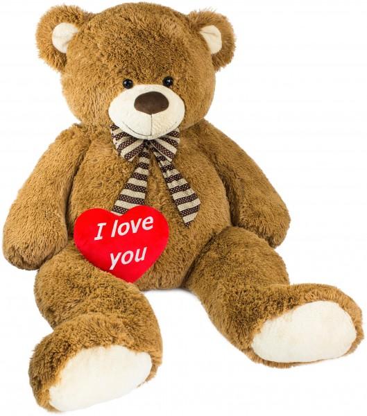 BRUBAKER Riesiger XXL Teddybär 1,5 m groß - Braun mit einem Plüschherz