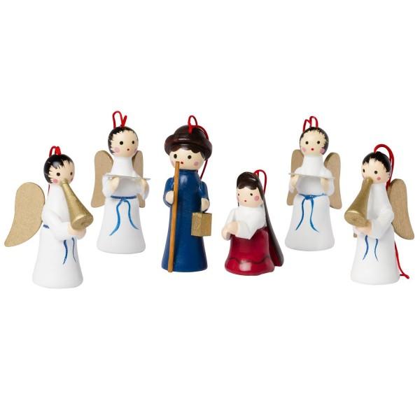 6 tlg. Set Weihnachtsbaumschmuck aus Holz - Maria & Joseph - Bis zu 6 cm große Figuren - Handbemalt