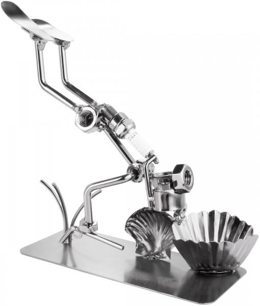 Schraubenmännchen Taucher mit Muschel - Perlentaucher Metallfigur Handarbeit