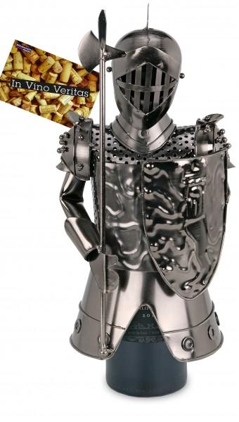 BRUBAKER Flaschenhalter Ritter Metall Skulptur Geschenk mit Geschenkkarte