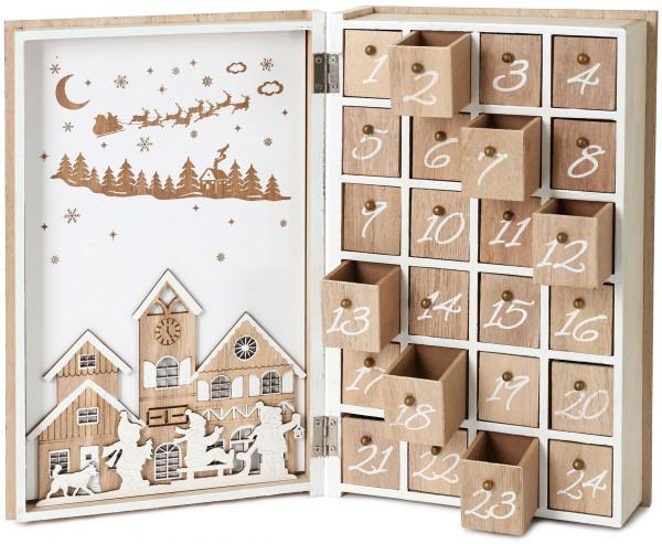 BRUBAKER Wiederverwendbarer Adventskalender aus Holz zum Befüllen - Merry Christmas Buch