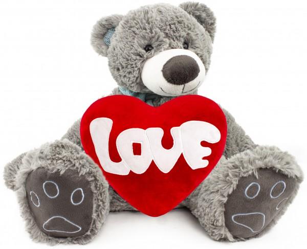 BRUBAKER Kuschelbär Teddybär 50 cm groß Grau mit einem Love Herz