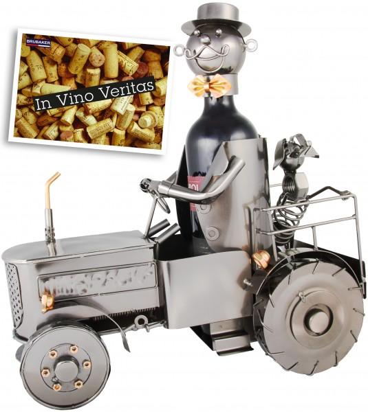 Weinflaschenhalter Traktor - Weingeschenk Flaschenständer - Metallfigur mit Grußkarte