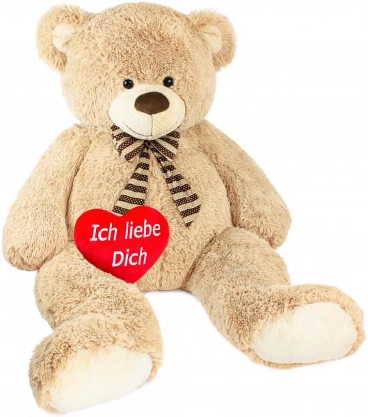 BRUBAKER Riesiger XXL Teddybär 1,5 m groß - Beige mit einem Plüschherz