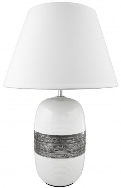 BRUBAKER Tisch- oder Nachttischlampe Keramikfuß Weiß Silber Weiß Hochglanz - Schirm weiß - 45 cm Höh