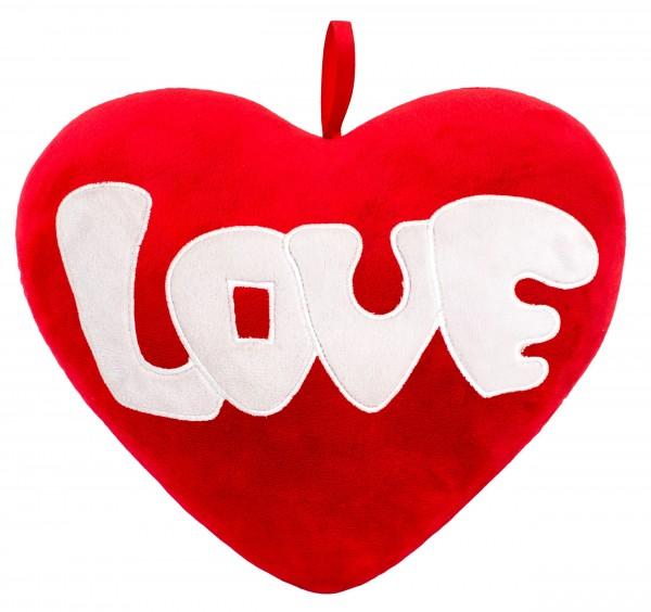 Brubaker Plüschkissen in Herzform - Love - Rot 32 cm - Herzkissen Bestickt