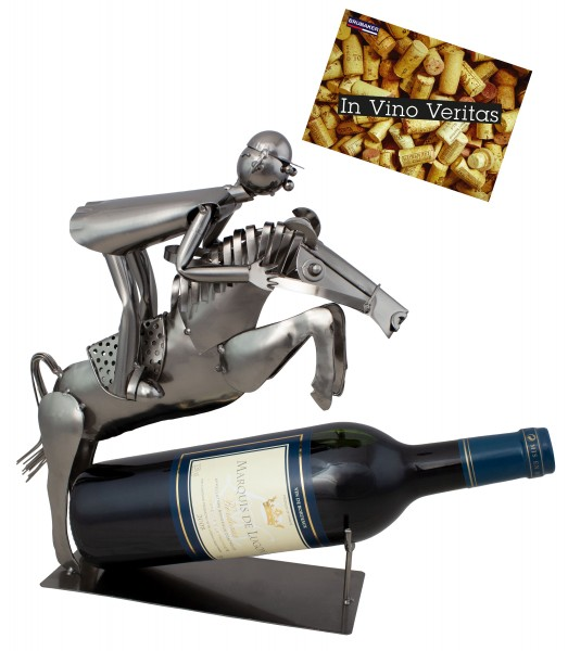 BRUBAKER Flaschenhalter Reiter im Sprung - Flaschenständer für Wein aus Metal mit mit Grußkarte