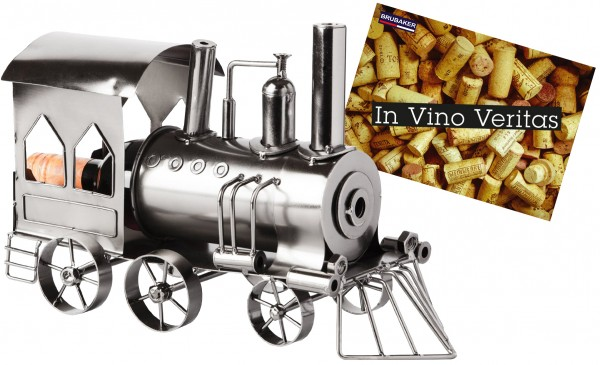 BRUBAKER Flaschenhalter Lokomotive Metall Skulptur Geschenk mit Geschenkkarte