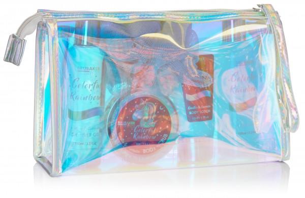 6-tlg. Einhorn Beauty Set - Colorful Rainbow - mit Vanille Lavendel Duft in Kosmetiktasche