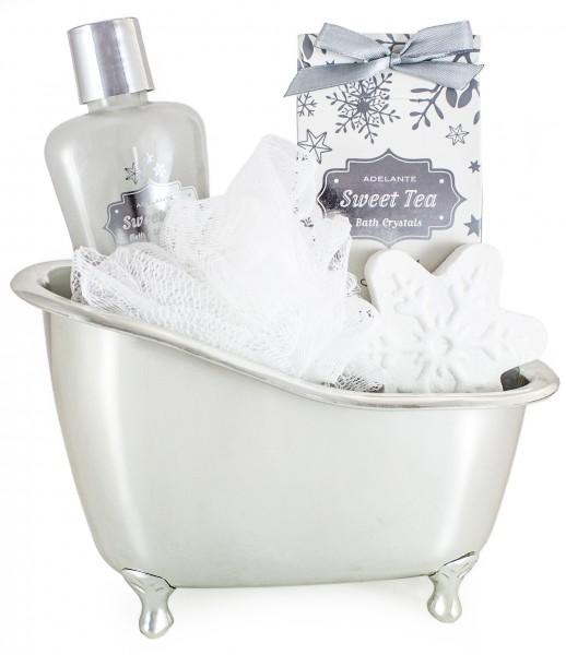 5-teiliges BRUBAKER Cosmetics 'Vanilla' Bade-Geschenkset mit silberfarbener Badewanne