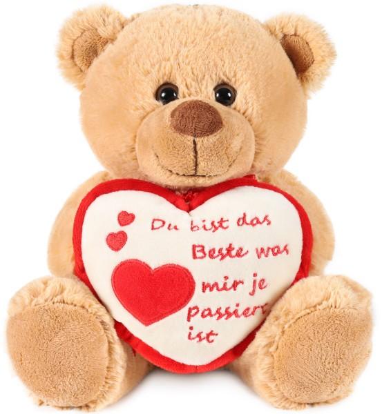 Teddy Plüschbär mit Herz - Du bist das Beste was mir je passiert ist - Kuscheltier Schmusetier