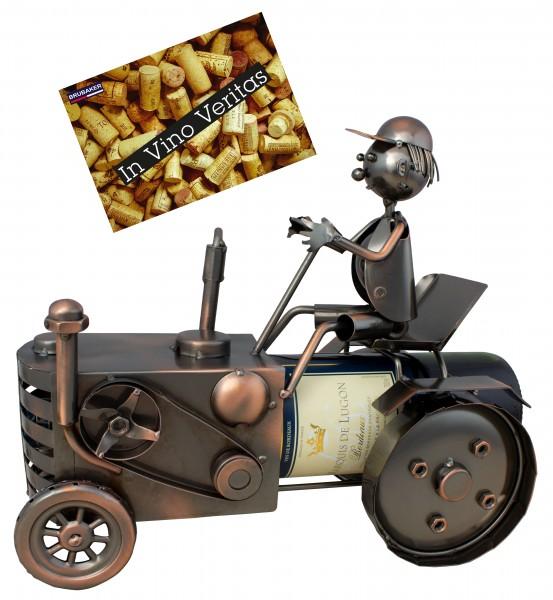 BRUBAKER Flaschenhalter Traktor mit Traktorfahrer - Flaschenständer für Wein aus Metal