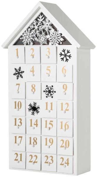 BRUBAKER Wiederverwendbarer Adventskalender aus Holz zum Befüllen - Haus Weiß - LED Beleuchtung