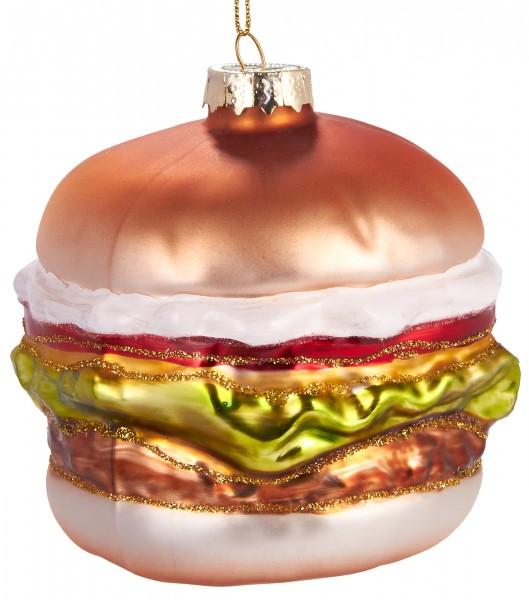 Hamburger - Handbemalte Weihnachtskugel aus Glas - Mundgeblasener Christbaumschmuck Baumkugel - 9 cm