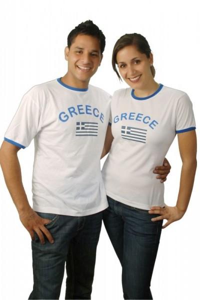 BRUBAKER Griechenland Fan T-Shirt Weiß