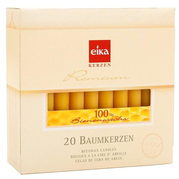 EIKA Baumkerzen 100% Bienenwachs, 20er Packung, 10cm x 1,25cm