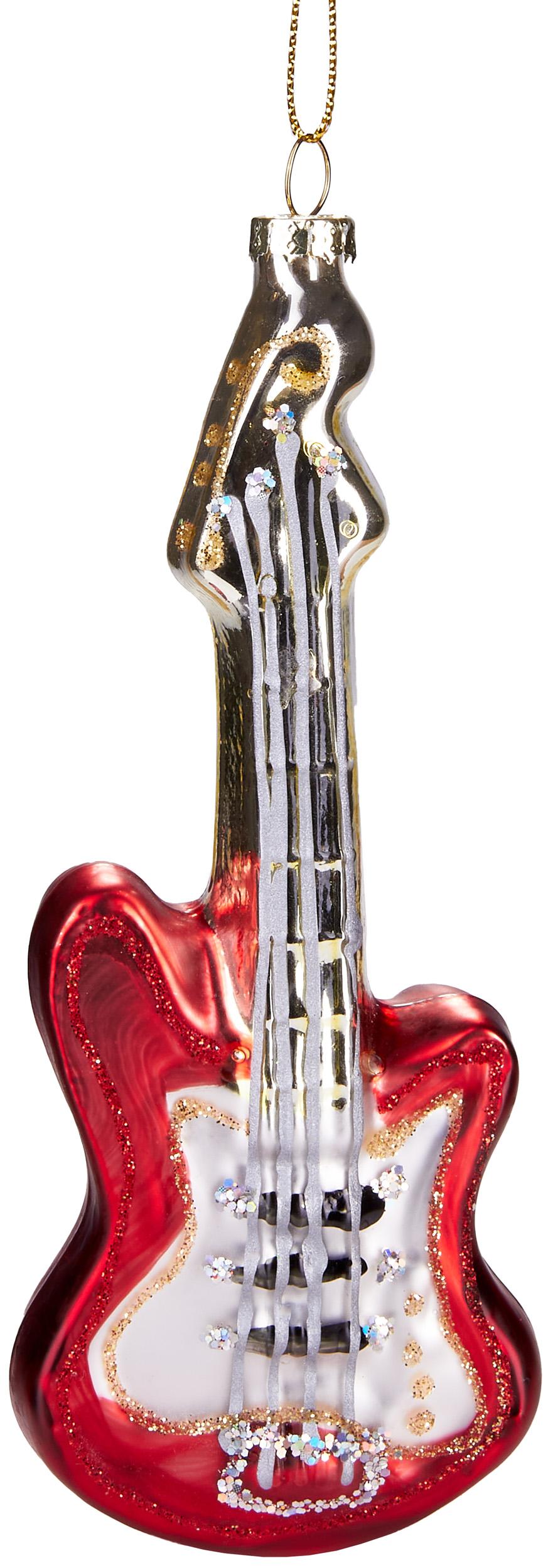 Gitarre Christbaumschmuck Musikinstrument Christbaumkugel rot