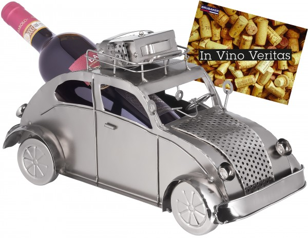 Weinflaschenhalter Urlaub Auto mit Gepäck auf dem Dach - Flaschenständer aus Metall - mit Grußkarte