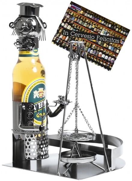 BRUBAKER Bier Flaschenhalter Meister am Schwenkgrill Metall Skulptur Geschenk mit Geschenkkarte