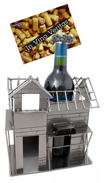 BRUBAKER Flaschenhalter Richtfest - Flaschenständer für Wein aus Metal mit mit Grußkarte