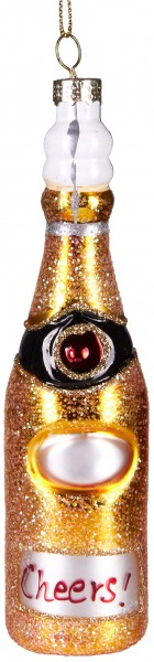 Cheers! Champagner-Flasche - Handbemalte Weihnachtskugel aus Glas – Mundgeblasene Baumkugel - 15 cm