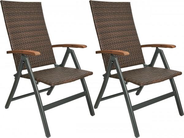 Gartenstuhl Modena Mehrfachpack - wetterfester Klappstuhl mit 7-Fach verstellbarer Lehne Braun Grau