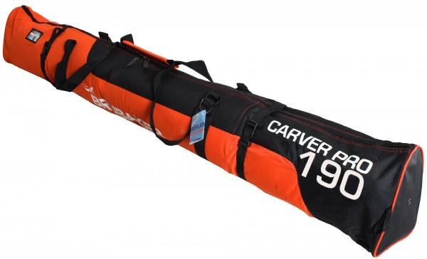 BRUBAKER Carver Pro 2.0 gepolsterte Skitasche mit Zipperverschluss Orange / Schwarz Weiß 190 cm