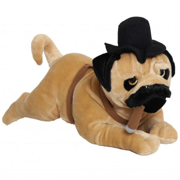 BRUBAKER Plüsch Hund Papa Mops mit Glitzeraugen und Zigarre 60 cm