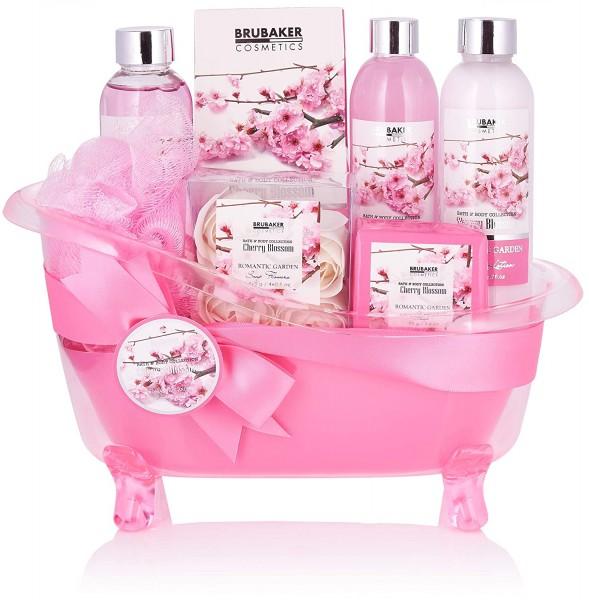 BRUBAKER Cosmetics Bade- und Dusch Set Kirschblüte - 8-teiliges Geschenkset in dekorativer Wanne