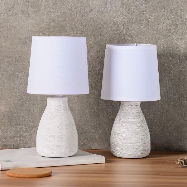 BRUBAKER Tisch- oder Nachttischlampen - 28 cm - Weiß - Keramik Lampenfüße - Baumwoll Schirm