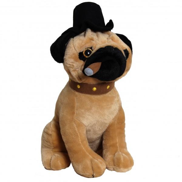 BRUBAKER Plüsch Hund Papa Mops mit Glitzeraugen und Zigarre 35 cm
