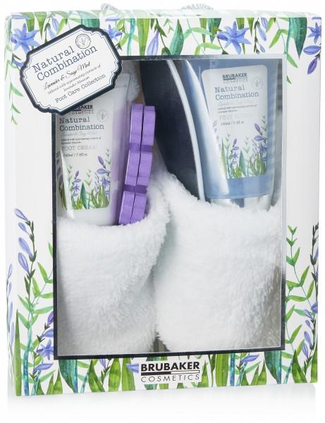 7-tlg. Bade- und Fußpflege Set inkl. 1 Paar Slipper - mit Lavendel & Salbei Minze Extrakten