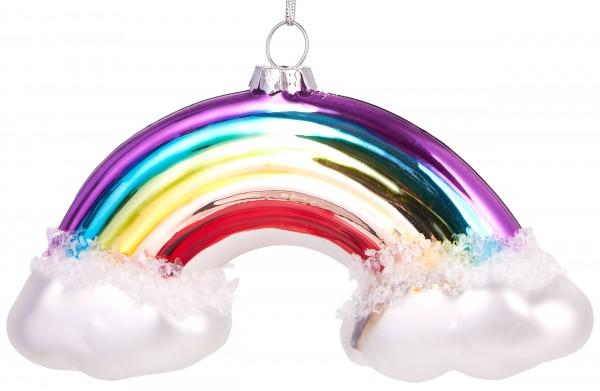 Regenbogen mit Wolken- Handbemalte Weihnachtskugel aus Glas – Mundgeblasene Baumkugel - 12 cm
