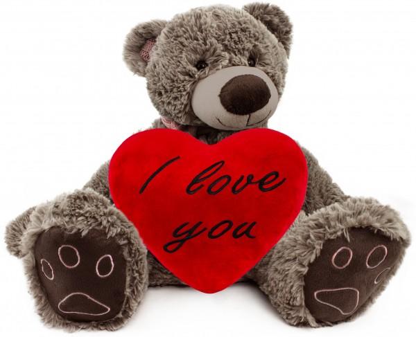 BRUBAKER Kuschelbär Teddybär 50 cm groß in Braun mit einem I Love You Herz