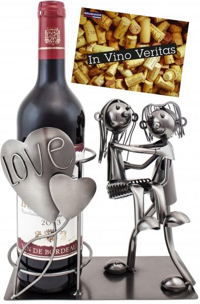 BRUBAKER Flaschenhalter Liebespaar mit Herzen Metall Skulptur inklusive Grußkarte