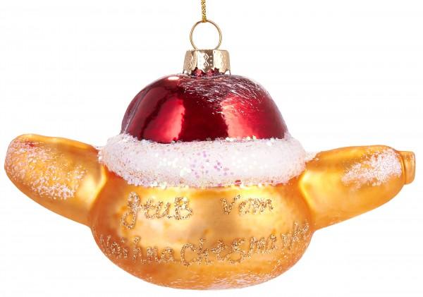 Weihnachtliche Bockwurst im Brot - Handbemalte Weihnachtskugel aus Glas -Christbaumschmuck - 12 cm