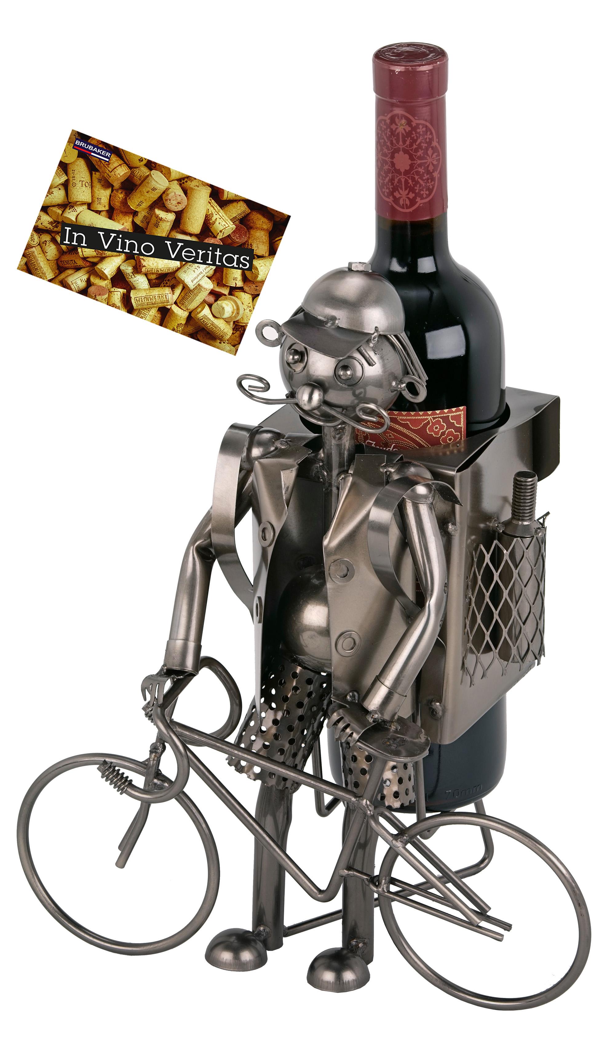 Brubaker Weinflaschenhalter Fahrradfahrer Metall Skulptur Geschenk