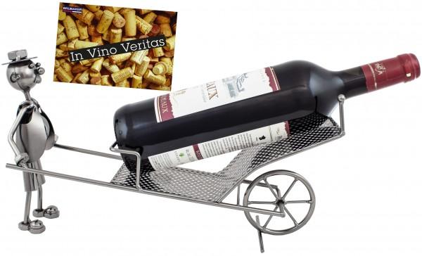 BRUBAKER Weinflaschenhalter Schubkarre Flaschenständer Deko-Objekt Metall mit Grußkarte für Weingesc